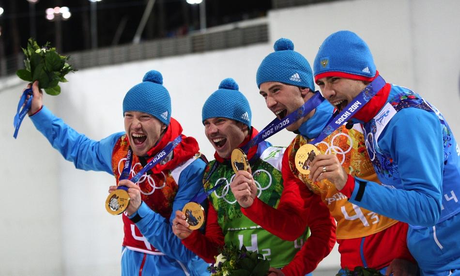 Триумф российской сборной в эстафете по биатлону